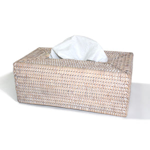 Rectangular Tissue Box - White Wash - Blue Rooster Trading