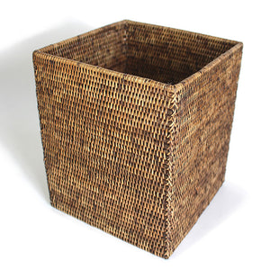 Square Waste Basket - Antique Brown - Blue Rooster Trading