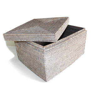 "Rectangular Storage Basket with Removable Lid 18.5x15x11.5""H - White Wash - Blue Rooster Trading"