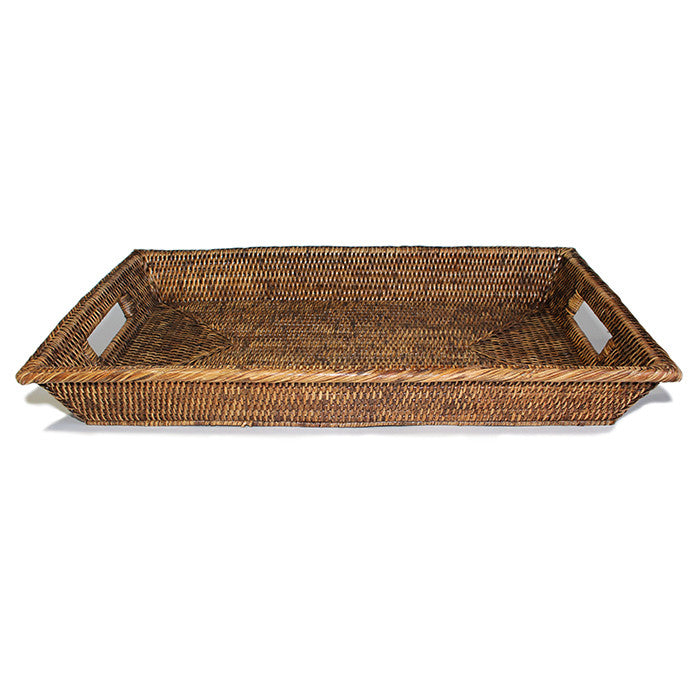 Rectangular Tray Platter w/ Cut Out Handles - Antique Brown - Blue Rooster Trading