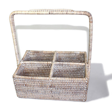 Rectangular Condiment Basket with Handle - White Wash - Blue Rooster Trading