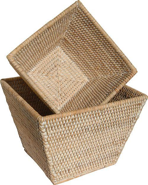 Flower Baskets Square Set of 2 - White Wash