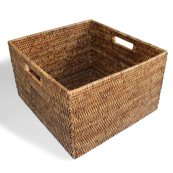 Basket Square Open w/ Cutout Handle Woven Rattan  - Antique Brown 15x14x9
