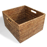 "Basket Square Open w/ Cutout Handle Woven Rattan  - Antique Brown 15x14x9""H.. - Blue Rooster Trading"