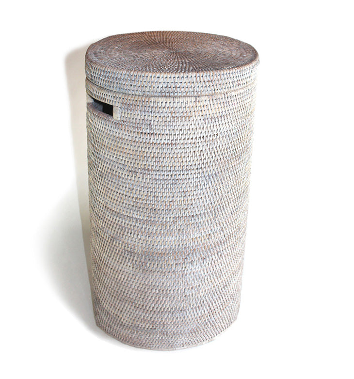 Round Tall Laundry Hamper w/ Cutout Handle