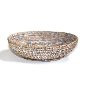 Oval Bowl Basket - White Wash - Blue Rooster Trading
