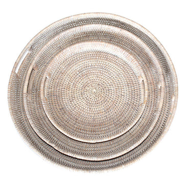 Round Tray Set 3 - White Wash - Blue Rooster Trading