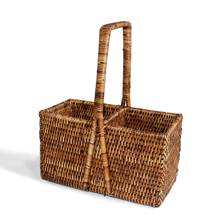 Bottle Carrier Basket (2 Bottle)  - Antique Brown