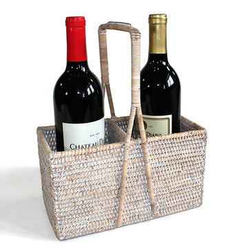 Bottle Carrier Basket (2 Bottle) - White Wash - Blue Rooster Trading