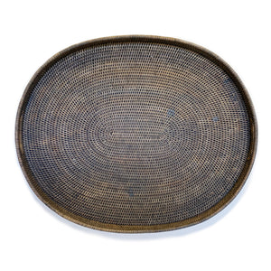 "Oval Tray Large with Cutout Handles 28x23x2""H"