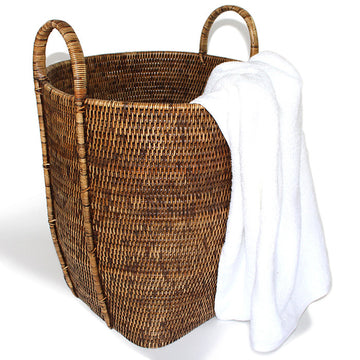 Open Round Laundry Hamper with Loop Handles - Antique Brown - Blue Rooster Trading