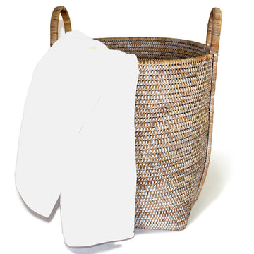 Open Round Laundry Hamper with Loop Handles - White Wash - Blue Rooster Trading
