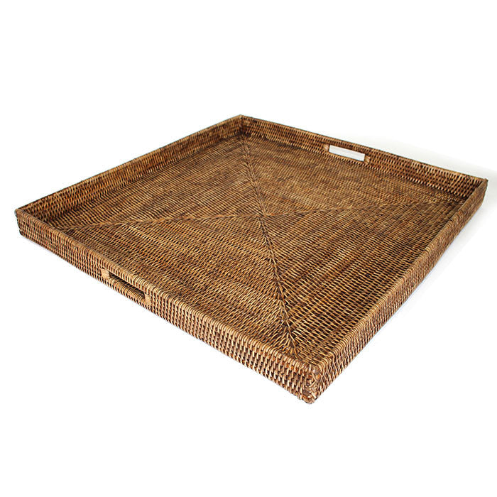 Square Tray with Cutout Handles - Antique Brown - Blue Rooster Trading