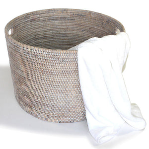"Round Open Storage Basket 20x20x14""H - White Wash - Blue Rooster Trading"