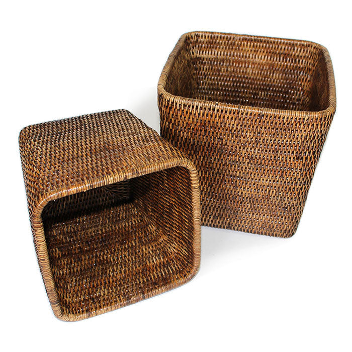 Planter Basket Set of 2 Square - Antique Brown - Blue Rooster Trading