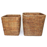"Planter Basket Set 2 Square WVR AB 7.5x8""/9x9.5"".... - Blue Rooster Trading"