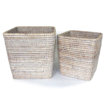 Planter Basket Set of 2 Square - White Wash - Blue Rooster Trading
