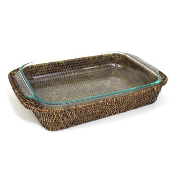 Oblong Pyrex Casserole Dish & Basket Tray - Antique Brown - Blue Rooster Trading