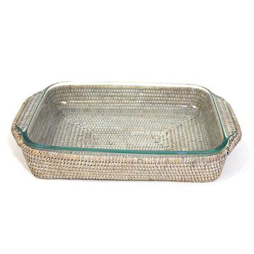 Oblong Pyrex Casserole Dish & Basket Tray - White Wash - Blue Rooster Trading