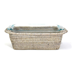 Rectangular Pyrex Loaf Bakeware & Basket Tray - White Wash - Blue Rooster Trading