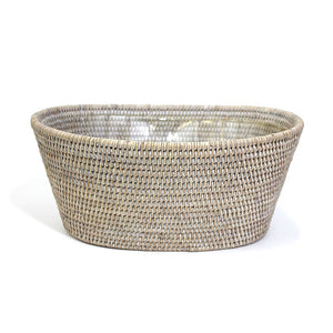 Oval Planter - White Wash - Blue Rooster Trading