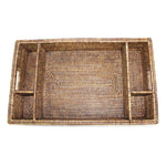 5-Section Tray with Cutout Handles - Antique Brown