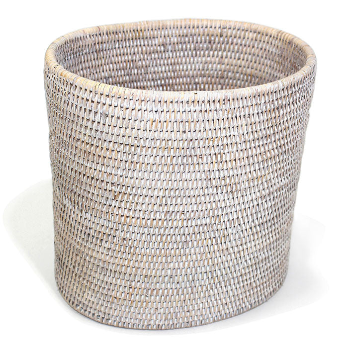 "Oval Waste Basket 11x8x11""H - White Wash - Blue Rooster Trading"