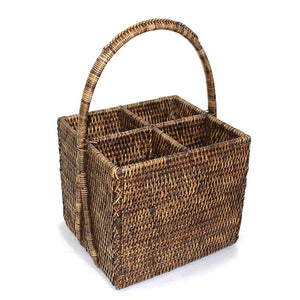 Caddy Four Section Basket with Handle - Antique Brown - Blue Rooster Trading