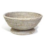 Round Pedestal Basket - White Wash