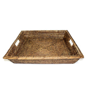 Square Angle Tray with Cutout Handles - Antique Brown