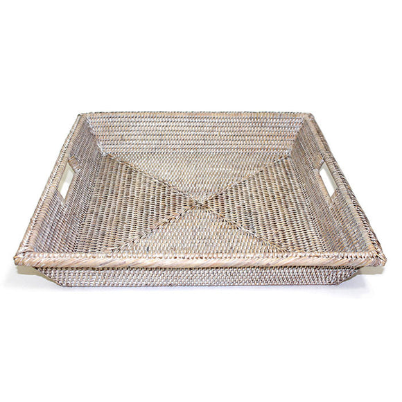 Square Angle Tray with Cutout Handles - Antique Brown - Blue Rooster Trading