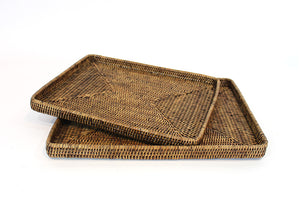 "S/2 Rectangular Trays 18x13.5"" / 16x12"" - Antique Brown"