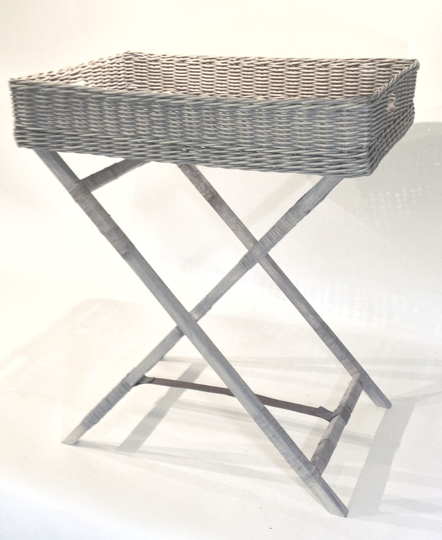 Rattan Butler Tray with Stand - Light Grey - Blue Rooster Trading