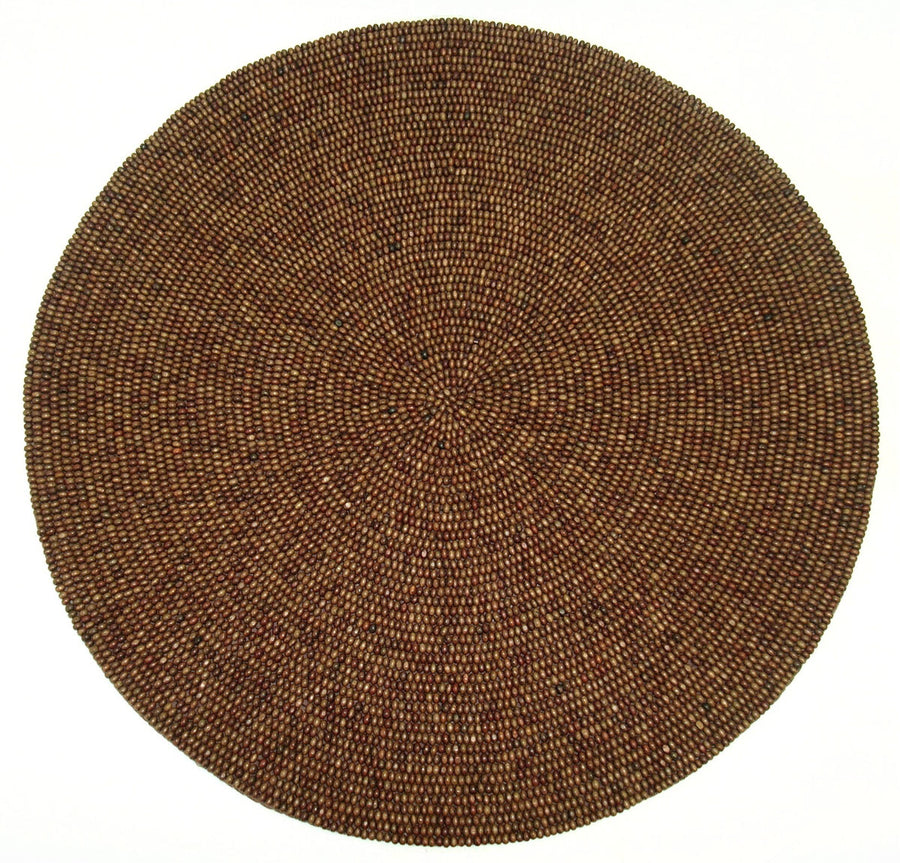 Round Set 4 Place Mats Wood Beads (Dark Brown) 15