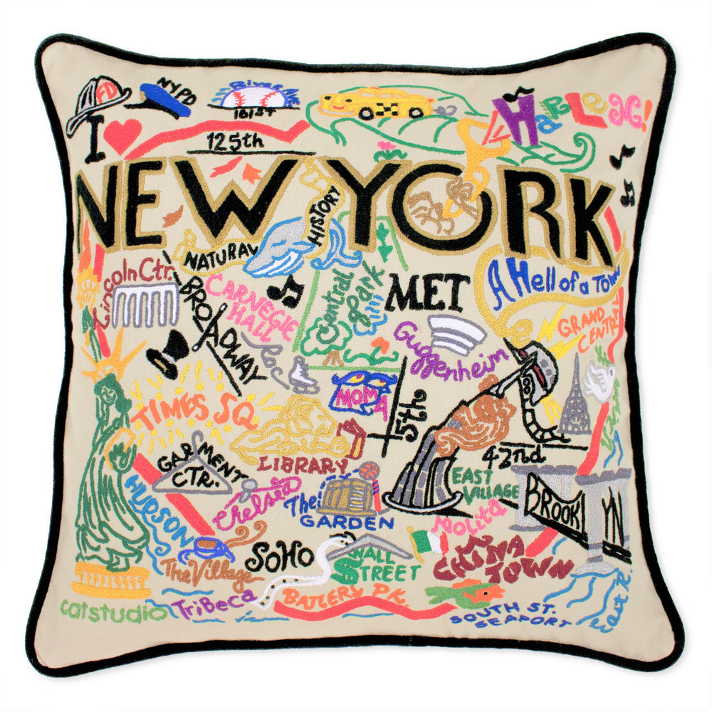 Whimsical NYC Pillow