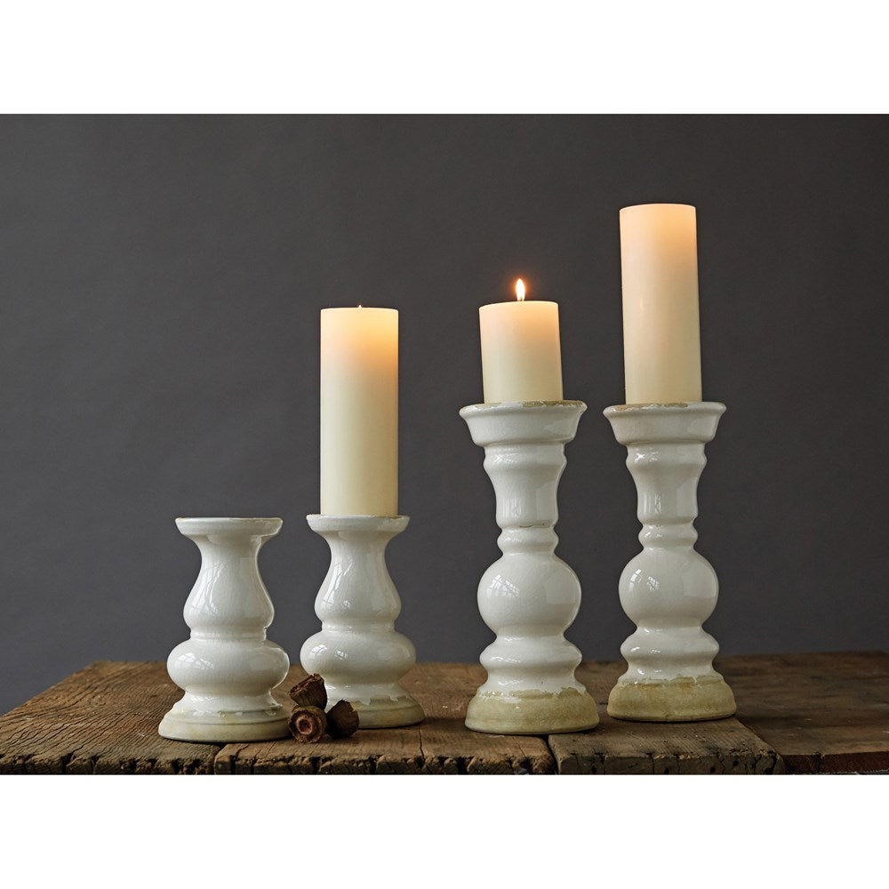 White Stoneware Candle Holder
