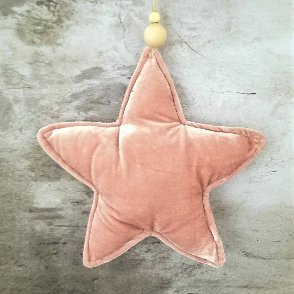 Load image into Gallery viewer, Pink Velvet Star Large Ornament