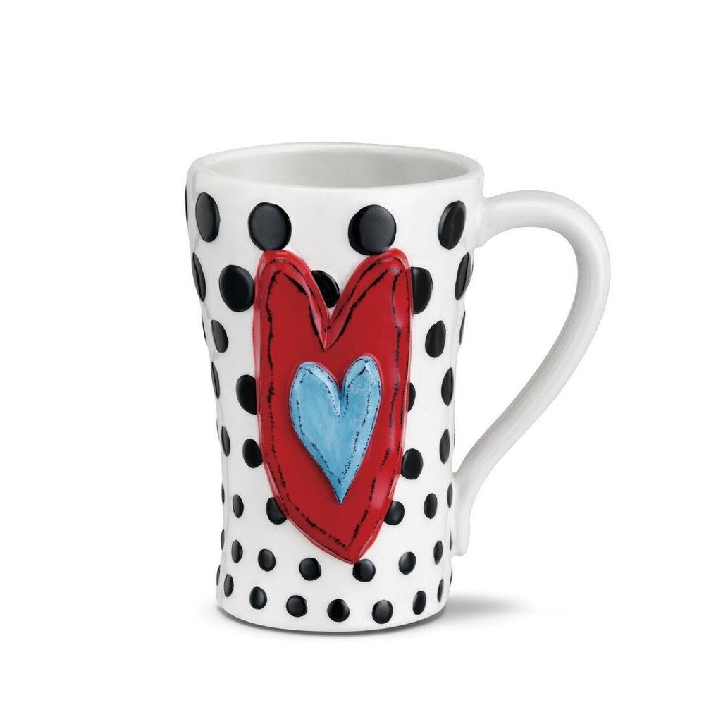 Tall Heart Black Dots Mug