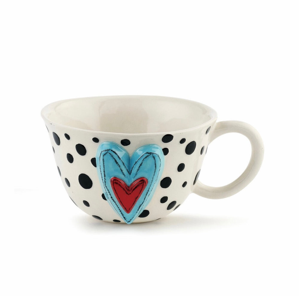 Black Dots Heart Latte Mug