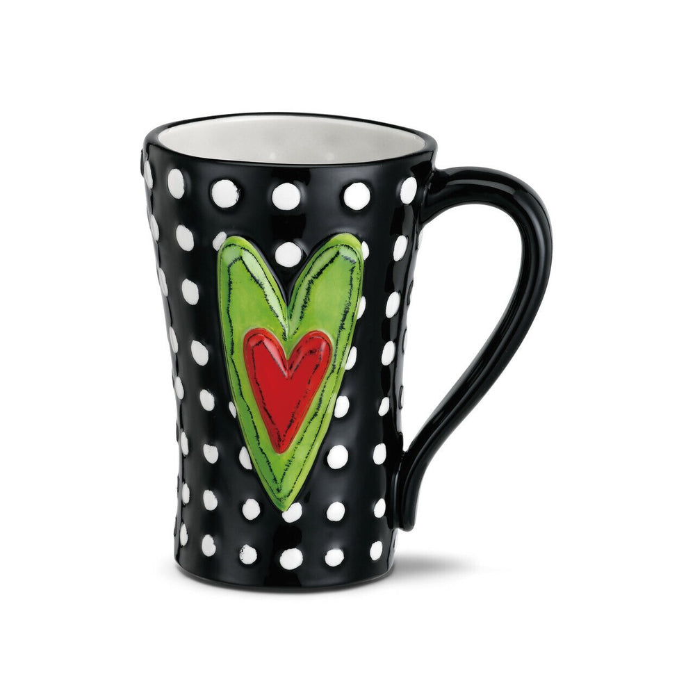 Tall Heart White Dots Mug