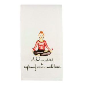 Balanced Diet Wine Dishtowel