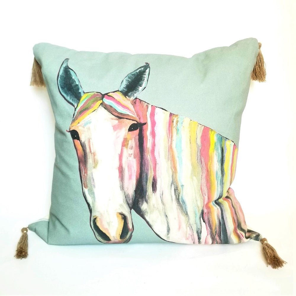 Horse Pillow With Tassels