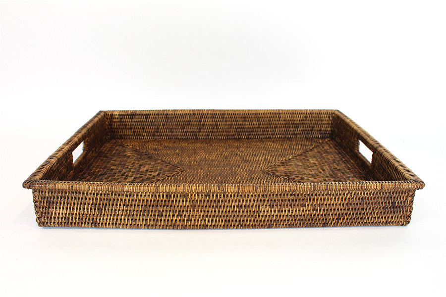 Rectangular Shallow Tray w/ Cutout Handles - Antique Brown - Blue Rooster Trading