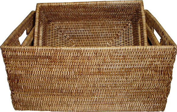 Basket Set 3 w/ Handles Rectangular WVR - AB 12x15.5x7.5