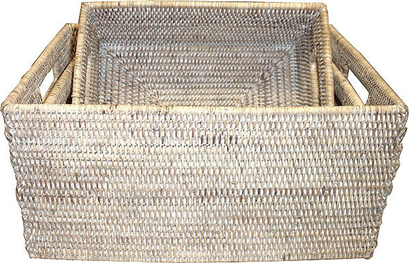 Set of 3 Rectangular Basket w/ Cutout Handles - White Wash - Blue Rooster Trading