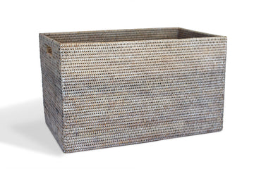 Rectangular Laundry Basket - White Wash - Blue Rooster Trading