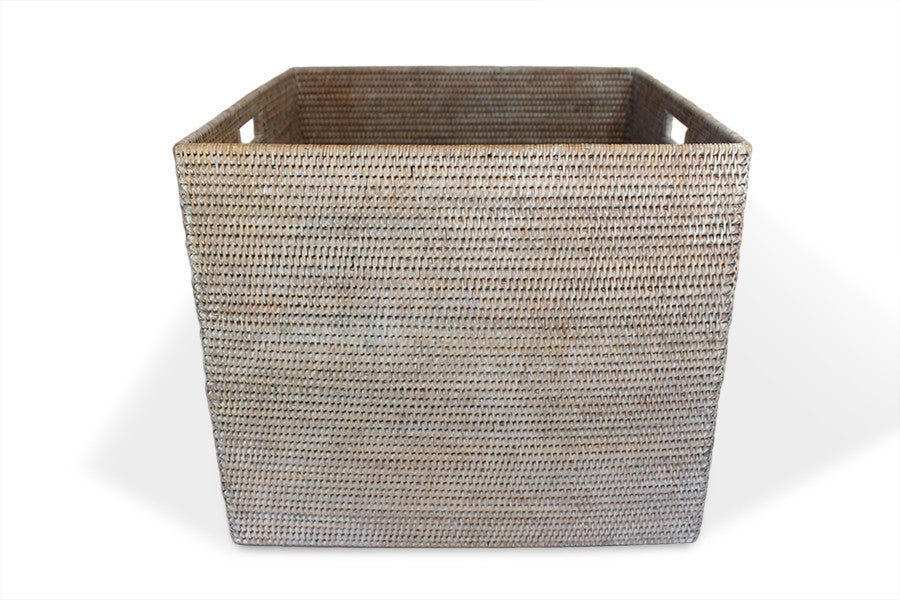 Square Laundry Basket - White Wash - Blue Rooster Trading