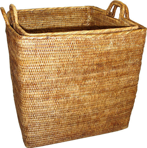 Basket Set 2 w/ Loop Handles Square WVR - AB 17.75x17.75