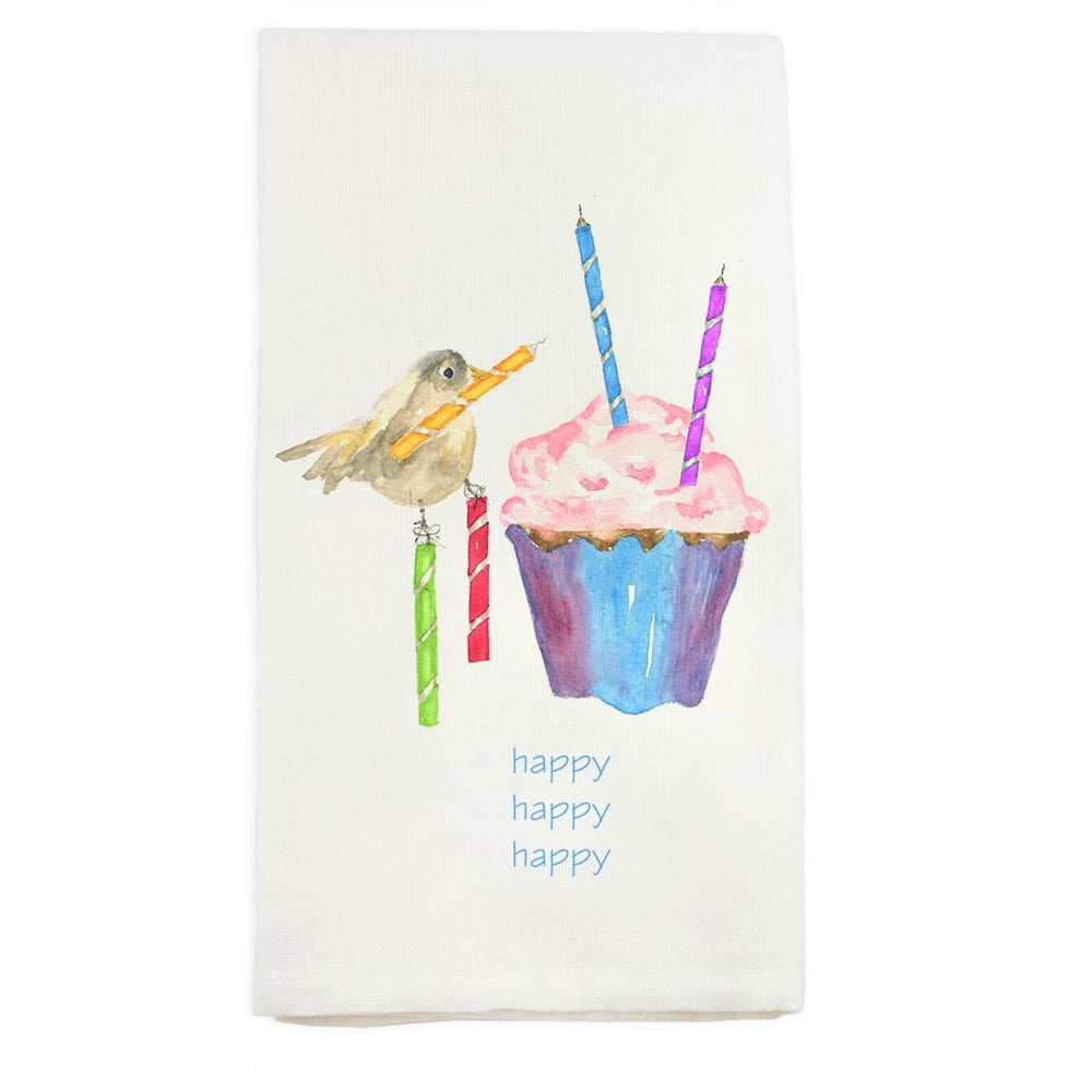Birthday Cup Cake Bird Kitchen Towel