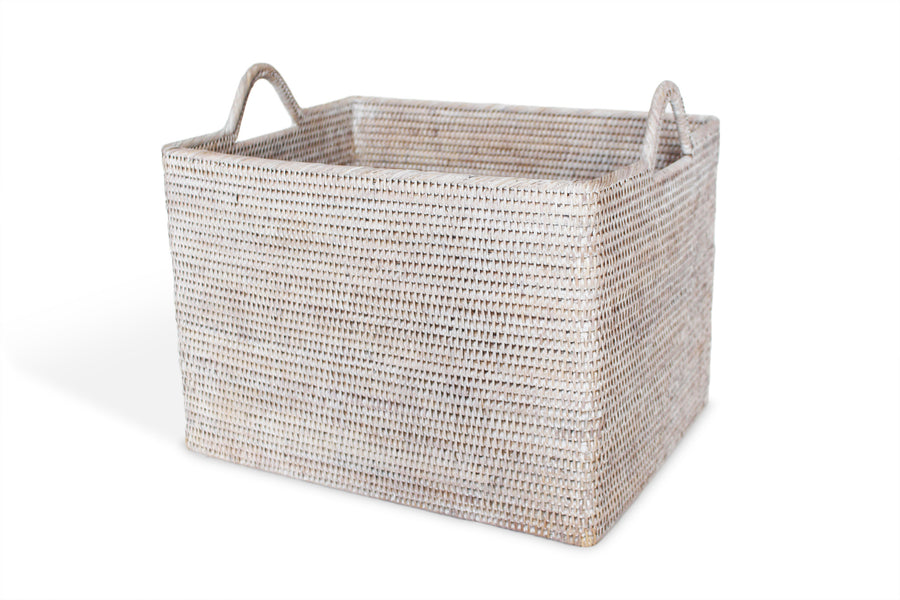 Rectangular Set of 2 Baskets w/ Loop Handles - White Wash - Blue Rooster Trading